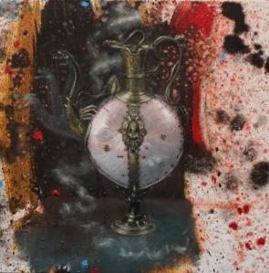 Massimiliano Alioto, Codex Corruptionis, 2013, olio su tela, 30 x 30