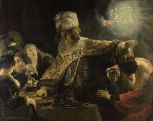 Rembrandt, il festino di Baldassarre, 1636, olio su tela, Londra, National Gallery