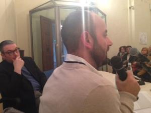 """Salvatore Trapani e Rav Goldstein durante la conferenza inaugurale """"In Absentia vs Damnatio Memoriae"""""""