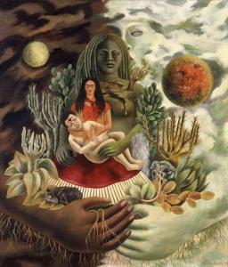 Frida Kahlo, L'abbraccio amorevole dell'Universo, la terra (il Messico), io, Diego e il signor Xolotl, 1949, olio su masonite