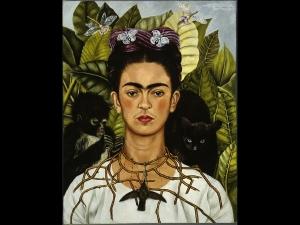 Frida Kahlo, Autoritratto con collana di spine e un colibrì,1940, olio su lamina metallica, 63,5 x 49,5