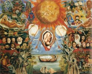 Frida Kahlo, Mosè o Nucleo Solare, 1945, olio su faesite