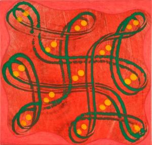 Philip Taaffe, Rangavalli Painting A, 2014, tecnica mista su tela, cm 32,4 x 33,6