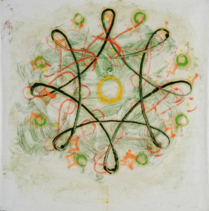 Philip Taaffe, Rangavalli IX, 1989, olio su carta, 68,5 x 68,5cm