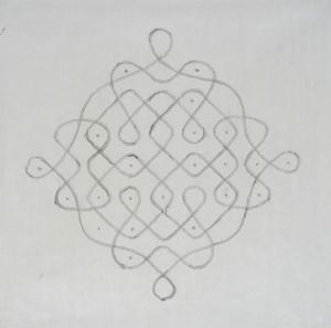 Philip Taaffe, Rangavalli V, 1989, olio su carta, 68,5 x 68,5cm