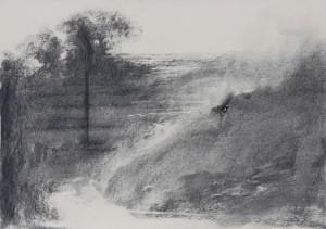 Omar Galliani 16 paesaggi per Giorgio, matita nera s carta e anello oro, 34.5x49 cm.