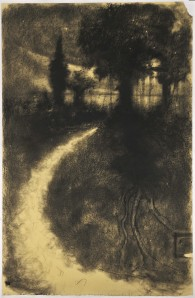 Omar Galliani. Sui tuoi passi, 1986, carboncino su carta intelata,  cm 125x200