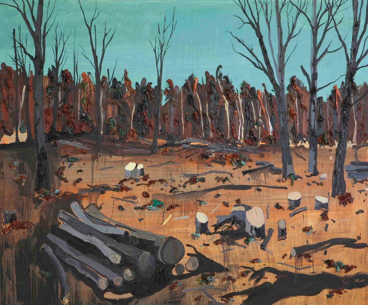 Kim Dorland, Logging, 2009, olio e acrilico su legno, 152 x 183