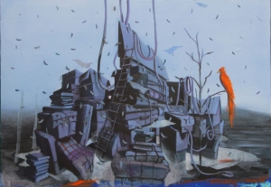 Luca Moscariello, Oltre il bosco dei faggi, 2014, olio su tavola, 70 x 100