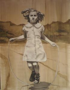 Barbara Nahmad, Alla corda, 2014, olio su tela, 130 x 110,
