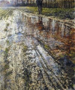 Raffaele Minotto, La memoria della terra, 2015, olio su tela 120 x 100