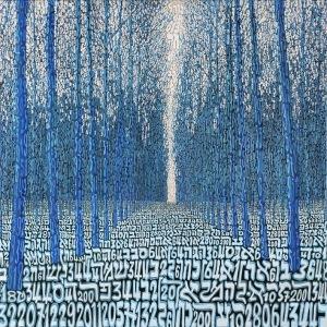 Tobia Ravà, Foresta profetica, 2014, sublimazione su raso acrilico, 110 x 110