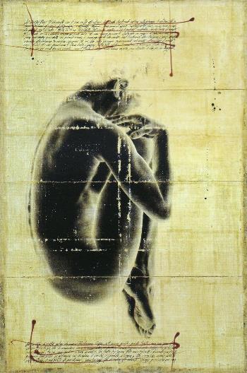 Hyena, 70100, Venere XXI, 2006, tecnica mista su juta, 150 x 100