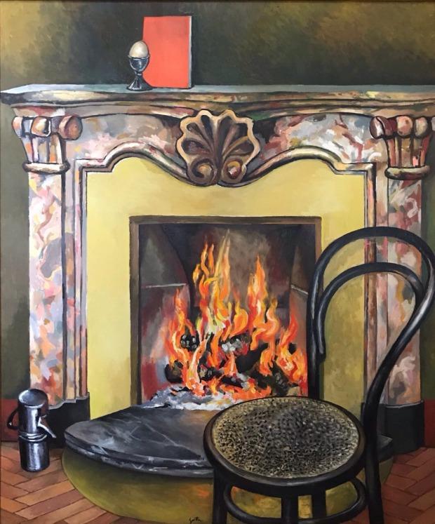 Guttuso, Caminetto, 1984, olio su tela, 150 x 125,5