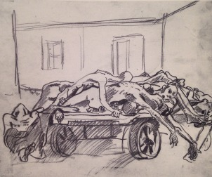 Aldo Carpi, Carro di morti davanti al deposito del crematorio ormai pieno