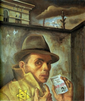Felix Nussbaum, autoritratto con carta di identità ebraica, 1943